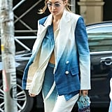 Gigi Hadid Carrying a Blue Jelly Bag in New York