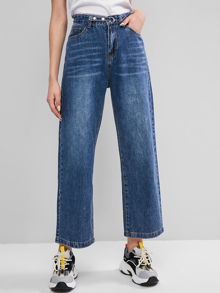 Zaful Snap Button Grommet High Waisted Wide Leg Jeans