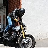 Orlando Bloom hopped on his motorcycle in LA.