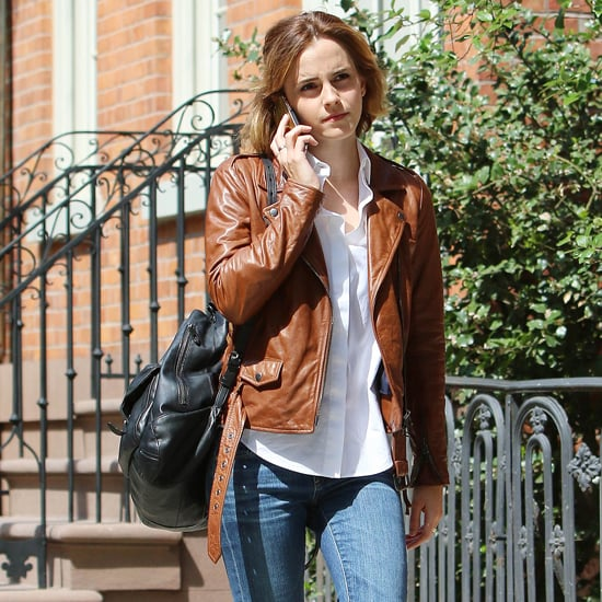 Emma Watson Brown Leather Jacket April 2016