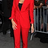 Blake Lively opted for a cool Michael Kors suit in a bold, apple-red for her appearance on Good Morning America.