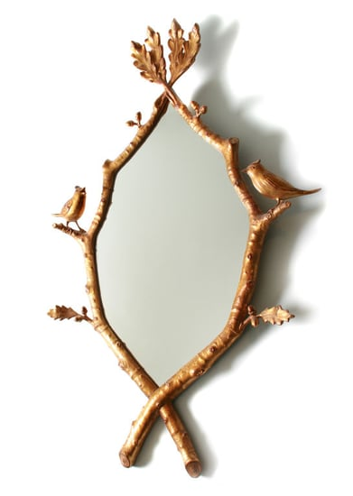 Crave Worthy: Gold-Leafed Hand-Carved Mirror With Birds