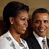Barack glanced sweetly at Michelle in January when the St. Louis Cardinals visited the White House after their 2011 World Series win.