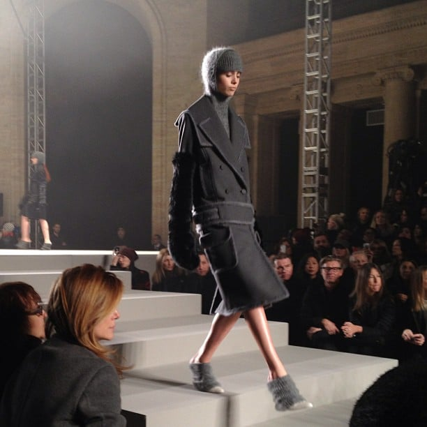 Cozy charcoal coats at Alexander Wang.