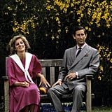The couple sat on a bench in Kensington Palace Gardens in 1984 in England.