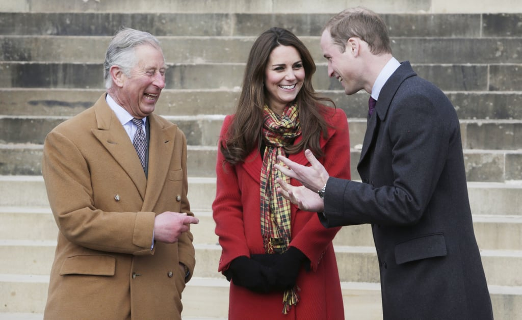 The couple shared a laugh with William's father Prince Charles during a visit to Dumfries House in Ayrshire, Scotland, in March 2013.