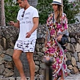 Jessica Alba and Cash Warren walked to the beach.