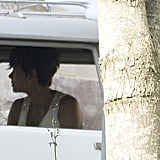Halle was spotted wearing a white gown with bejeweled straps when she arrived at the Chateau des Condé in a vintage white car. Sadly, the pair announced their split in October 2015, but have remained civil and often get together with their kids.