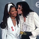 Michael Jackson planted a kiss on his sister Janet Jackson at the 1993 Grammys.
