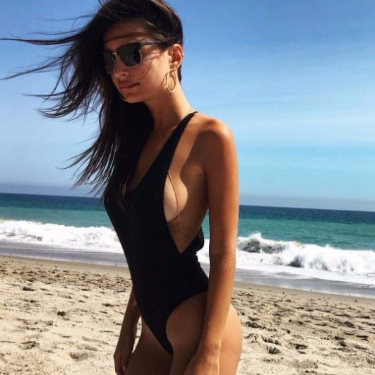Emily Ratajkowski's Black One-Piece Swimsuit