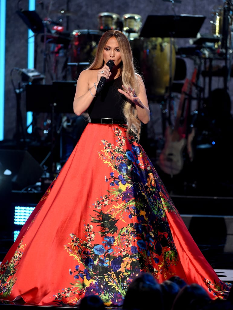 Jennifer Lopez stunned in this Romona Keveza Collection dress.