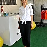 Amy Smart's crisp, white button-down added a fresh twist to her black pants and Vince Camuto sandals in Beverly Hills.