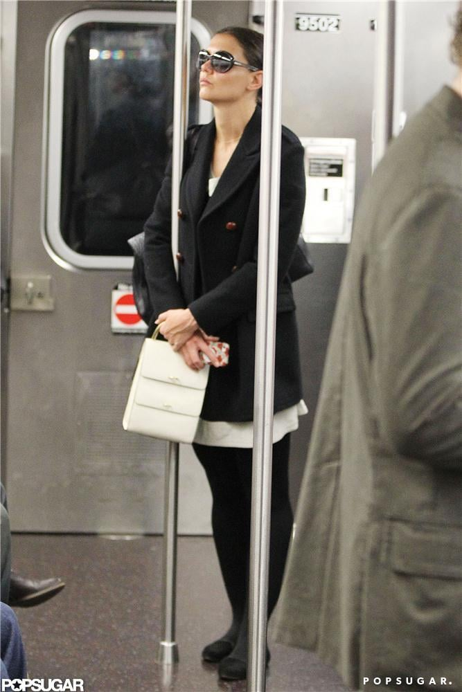 Katie Holmes rode the subway in NYC.