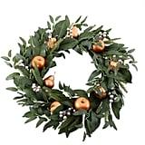Martha Stewart Gold Gilded Fruit Pre-Lit Artificial Holiday Wreath