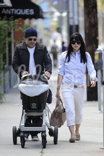 Selma Blair and Arthur: Orbit Stroller Travel System