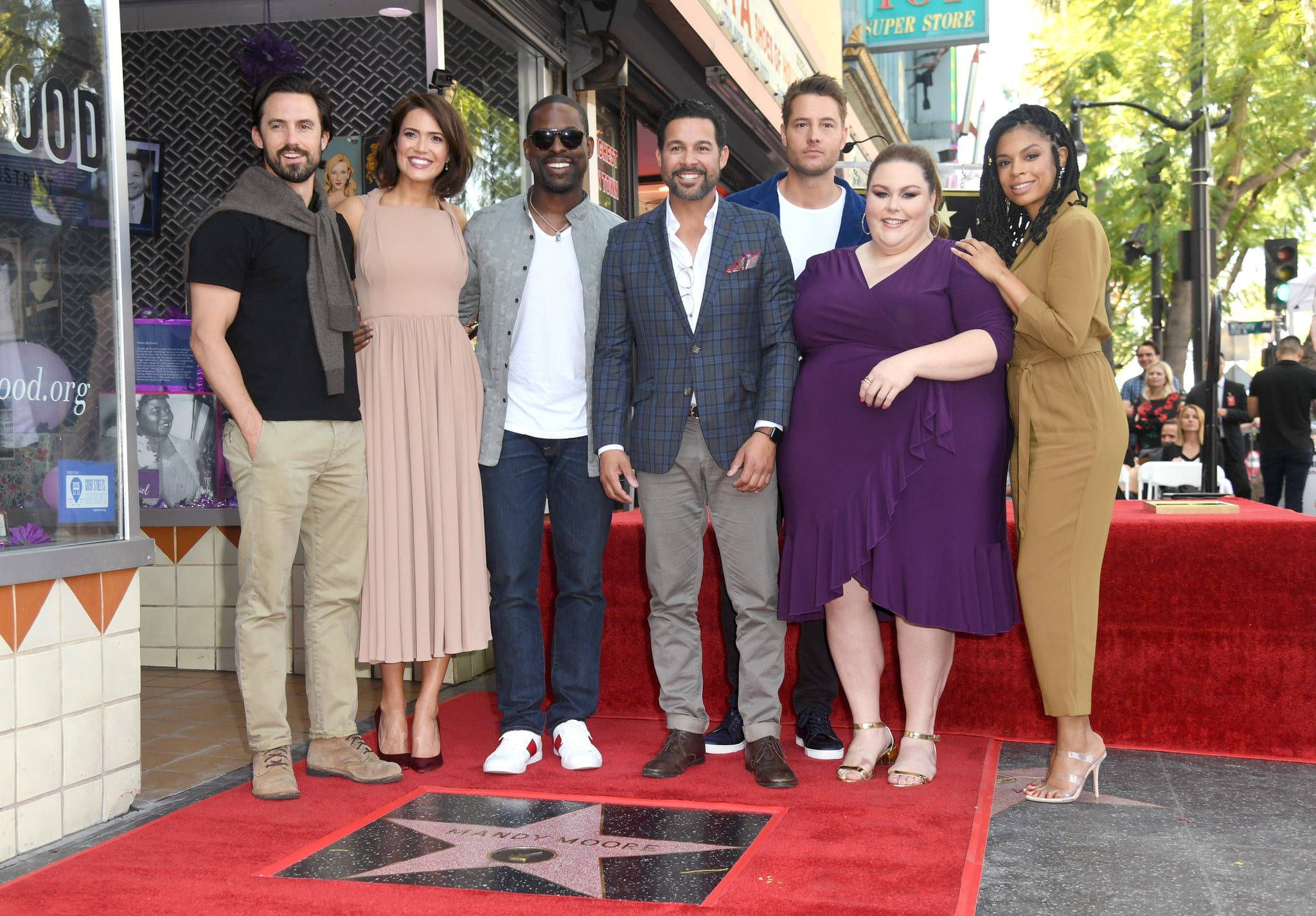 HOLLYWOOD, CALIFORNIA - MARCH 25: (L-R) Milo Ventimiglia, Mandy Moore, Sterling K. Brown, Jon Huertas, Justin Hartley, Chrissy Metz, and Susan Kelechi Watson attend a ceremony honouring Mandy Moore with a star on the Hollywood Walk Of Fame on March 25, 2019 in Hollywood, California. (Photo by Kevin Winter/Getty Images)
