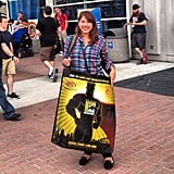 After picking up our credentials, Shannon modeled the classic oversize swag bag: the ultimate Comic-Con must have.