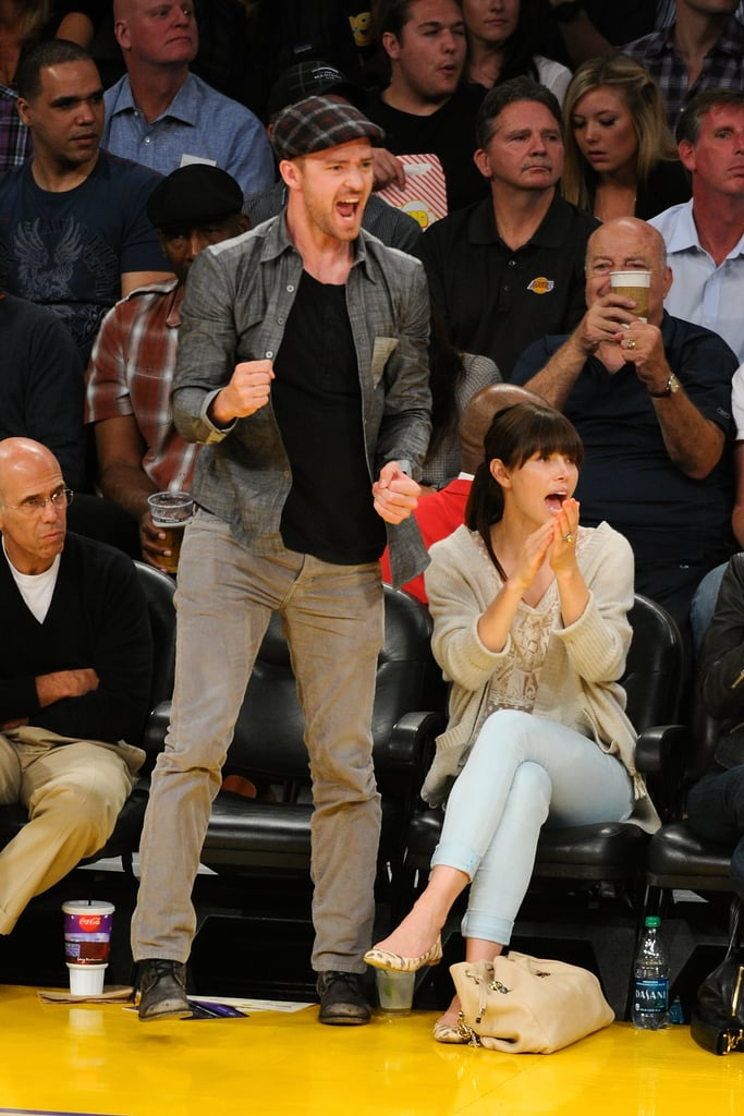 Justin Timberlake and Jessica Biel cheered on the Lakers during the NBA playoffs in May 2012.