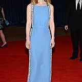 Claire Danes glowed in a baby-blue Prada column gown, finished with embellished paneling down the sides, and accessorized with Forevermark diamonds.