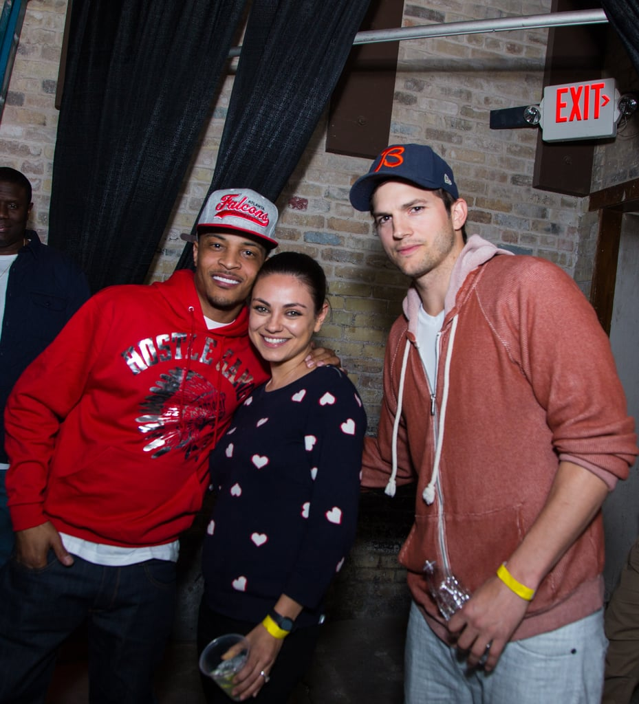 Mila Kunis and Ashton Kutcher made a special appearance at SXSW in Austin, TX, on Saturday posing with T.I. at the launch of Ashton and Guy Oseary's new venture fund, Sound Venture. It was a fun night out for Ashton and Mila, who welcomed their first child back in October and have only recently started to get back into the spotlight. Mila made her first postbaby appearance on the red carpet at the February premiere of Jupiter Ascending and followed it up with a few fun press stops including a visit to The Ellen DeGeneres Show, where she gushed about how great Ashton Kutcher is at swaddling baby Wyatt.