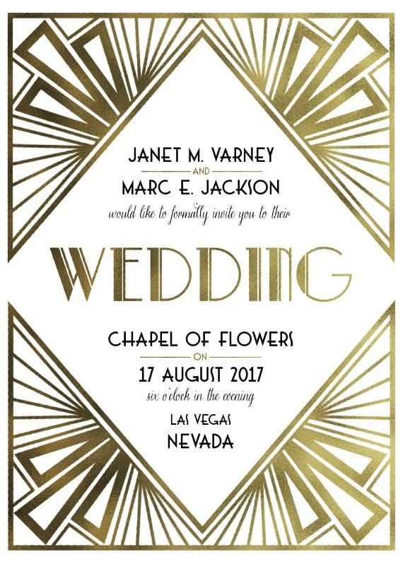 Art Deco Wedding Invitation Free Printable Wedding Invitations