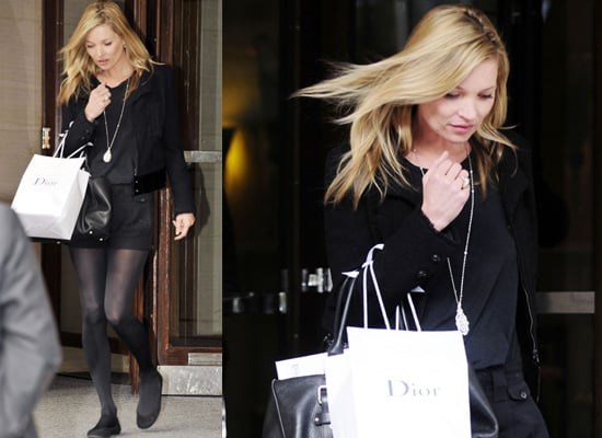 Photos of Kate Moss in London Leaving Photoshoot in Black Ensemble