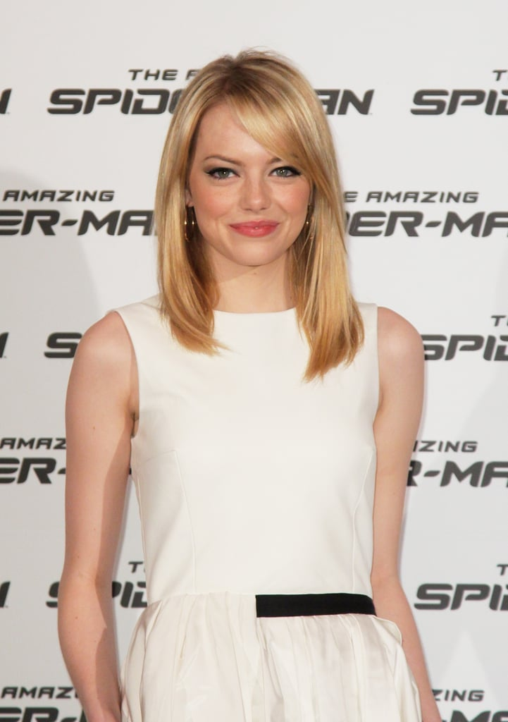 She paired her minimalist chic Jason Wu dress with a low-key hair style, simple hoop earrings, and winged eyeliner.