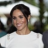 Meghan Markle White Theia Dress in Tonga October 2018