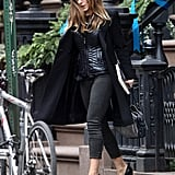 While the majority of Sarah Jessica Parker's ensemble is polished and professional, we love that she added a shiny puffer vest to the mix. It not only added an extra layer of Winter warmth, but also gave her daytime look a surprisingly cool textural finish.