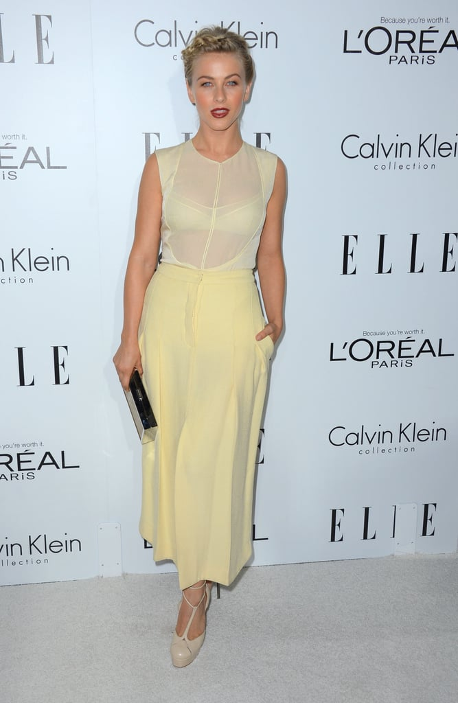 Julianne Hough slipped into a pretty pastel yellow Calvin Klein ensemble.