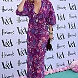Kate wears a purple floral-print dress to the V&A Summer Party in 2016.