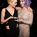 Katy Perry and Miley Cyrus compared cleavage at the 2015 show.