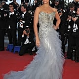 Camila Alves posed in a shimmery-cum-frothy Marchesa gown at the Mud premiere.
