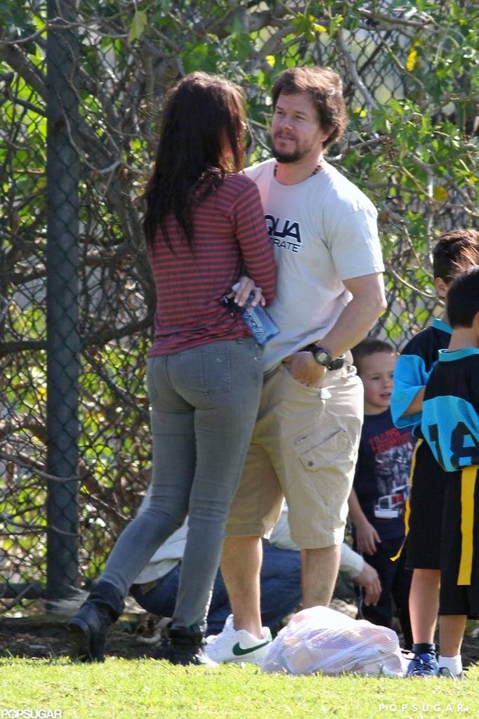 Mark Wahlberg and his wife, Rhea Durham, chatted during the game.