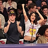 Vanessa Hudgens and Josh Hutcherson cheered on the LA Lakers as they played the New Orleans Hornets in March 2011.