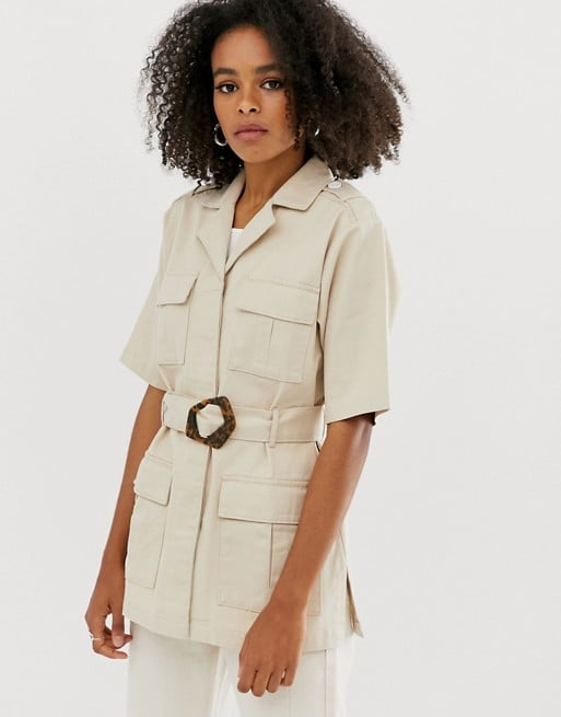 ASOS DESIGN Denim Belted Utility Shacket