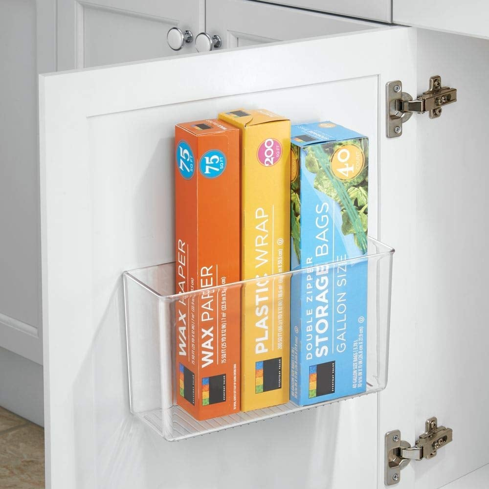 mDesign Modern Plastic Adhesive Cabinet and Wall Mount