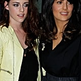 Kristen Stewart and Salma Hayek met up inside the show.