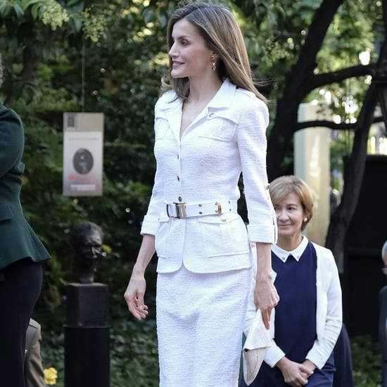 Queen Letizia's Felipe Varela White Suit October 2016