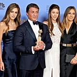 Sylvester Stallone was accompanied by his gorgeous daughters, Sistine, Sophia, and Scarlet, at the Golden Globes.