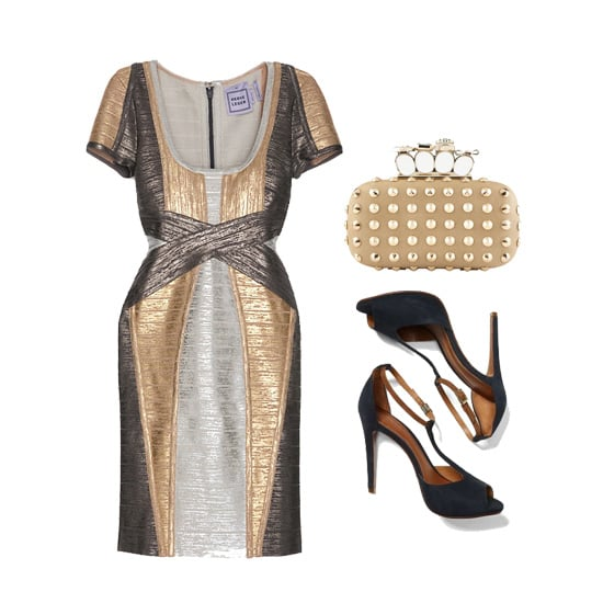 """For a fancier affair, we love the look of a gold and silver dress with dark navy heels — it screams """"I'm a good time"""" without being too over-the-top. You'll definitely be the life of the party. Shop the look:  Hervé Leger Metallic Foil Bandage Dress ($1,800) Aldo Hesser Clutch ($45) Club Monaco Schutz Eunice T-Strap Heels ($198)"""