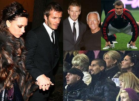 Photos of David Beckham Playing with AC Milan vs Fiorentina With Victoria Beckham Watching, Then Armani at Milan Fashion Week