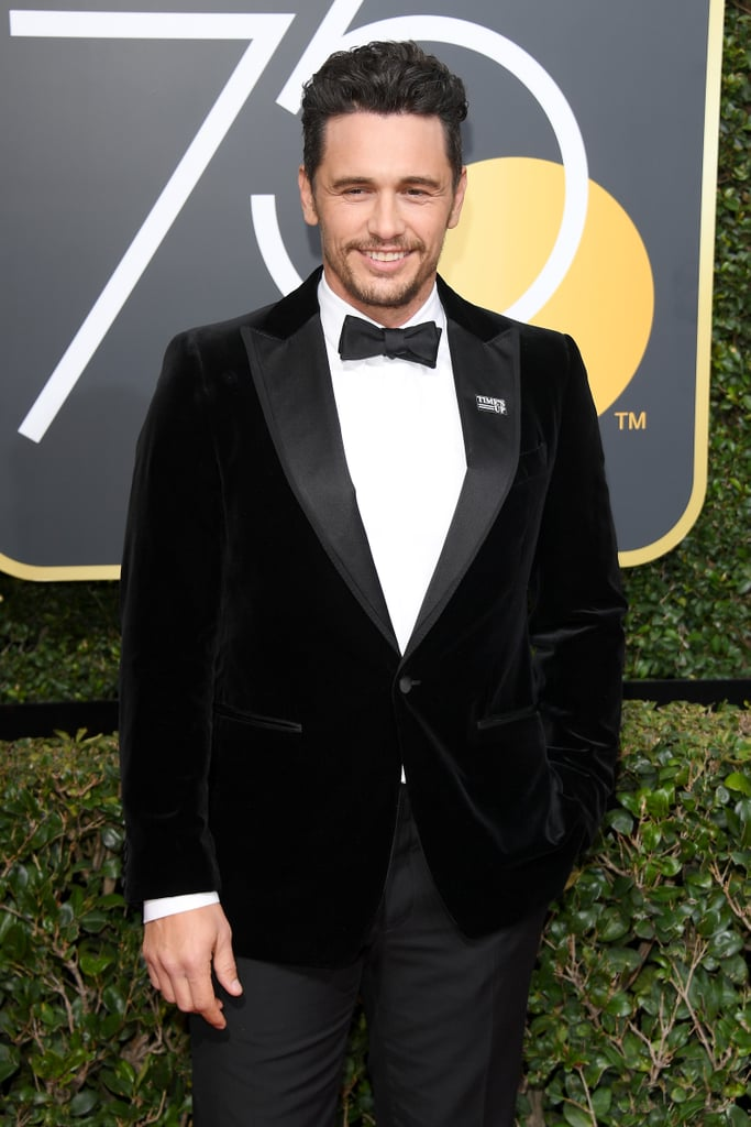 James Franco certainly had a big night at the Golden Globes on Sunday. After hitting the red carpet with his younger brother, Dave, the actor nabbed best actor in a musical or comedy for his role in The Disaster Artist. And the fun didn't end there. During the show, he also caught up with his longtime friend and costar, Seth Rogen, and shared a hilarious moment on stage with Tommy Wiseau, the filmmaker he portrayed in his hit film. Something tells us we'll be seeing a lot more of James this award season.