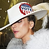 Back in November, Lady Gaga Made Sure to Remind People to Vote by Adding a Pin to Her White Hat