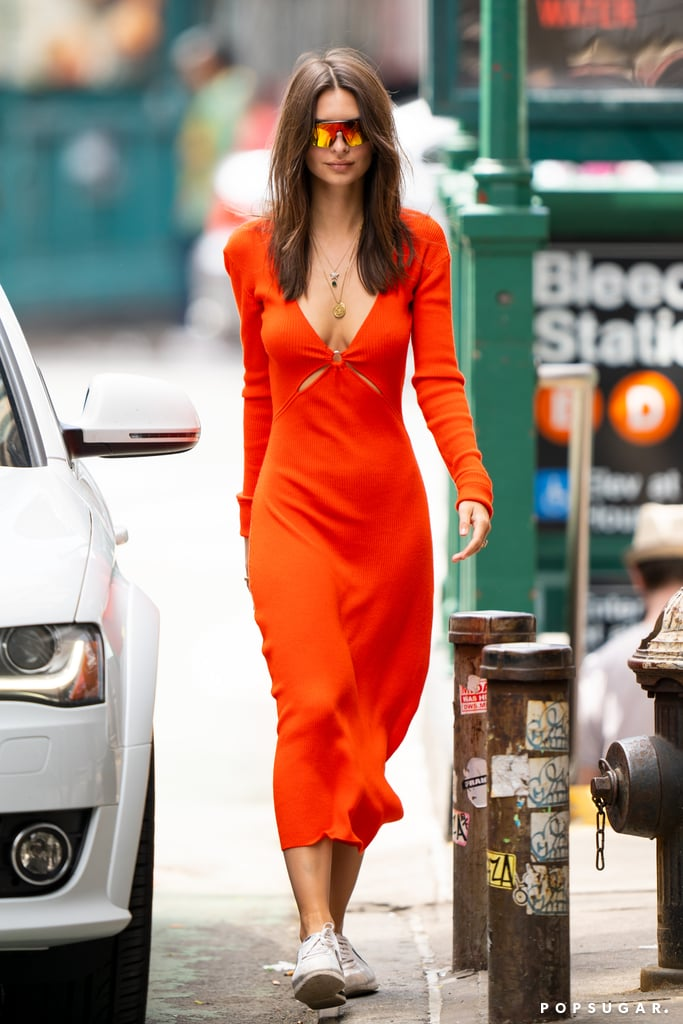 Emily Ratajkowski Orange Dress