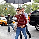 Jennifer Garner walked under an umbrella in NYC.
