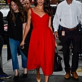 For an appearance on the Today Show in July 2016, Meghan wore a gorgeous red dress with a sweetheart neckline.