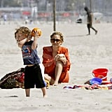 Nicole Richie watched Sparrow throw a ball around on the beach in Malibu.