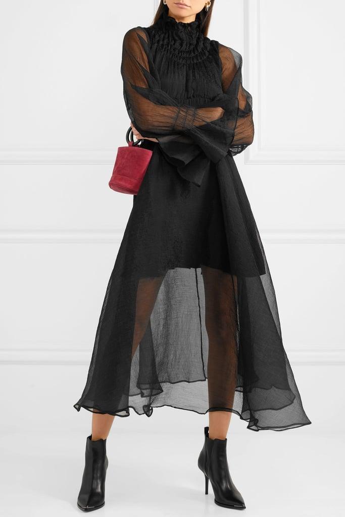 Beaufille Sol Plissé-Chiffon Midi Dress ($875.61)
