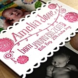 Letterpress Birth Announcement Photo Band